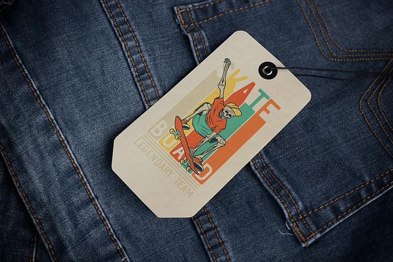 牛仔裤服装品牌标签样机 Tag Label Mockup designshidai_yj506