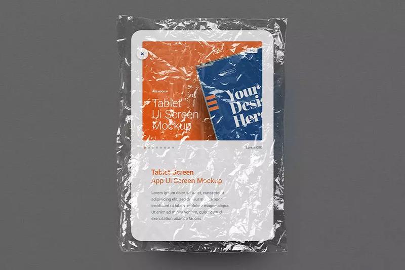 透明塑料袋平板电脑屏幕展示样机designshidai_yj598