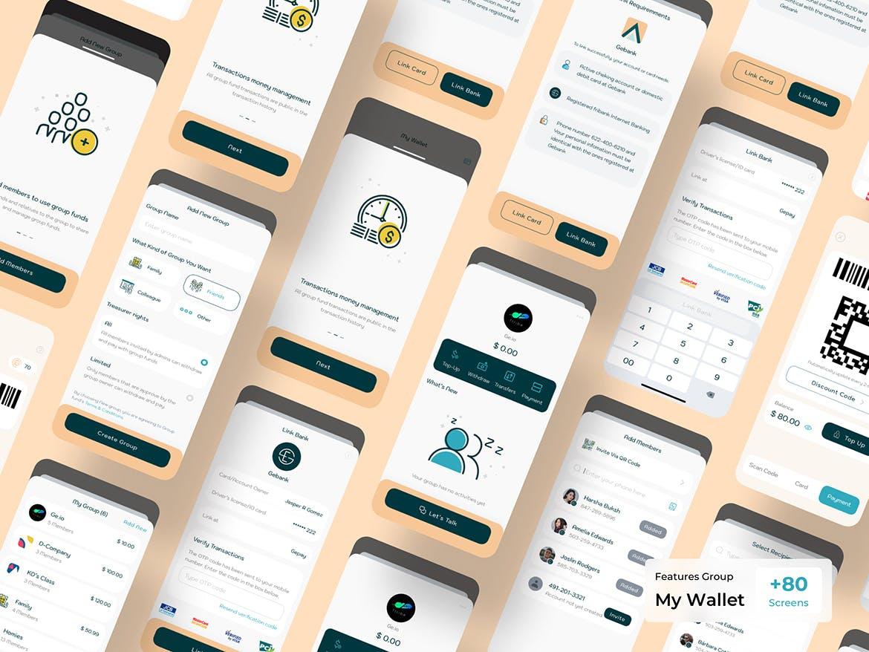 区块链数字钱包移动工具用户社交界面设计模板APP UI designshidai_ui204