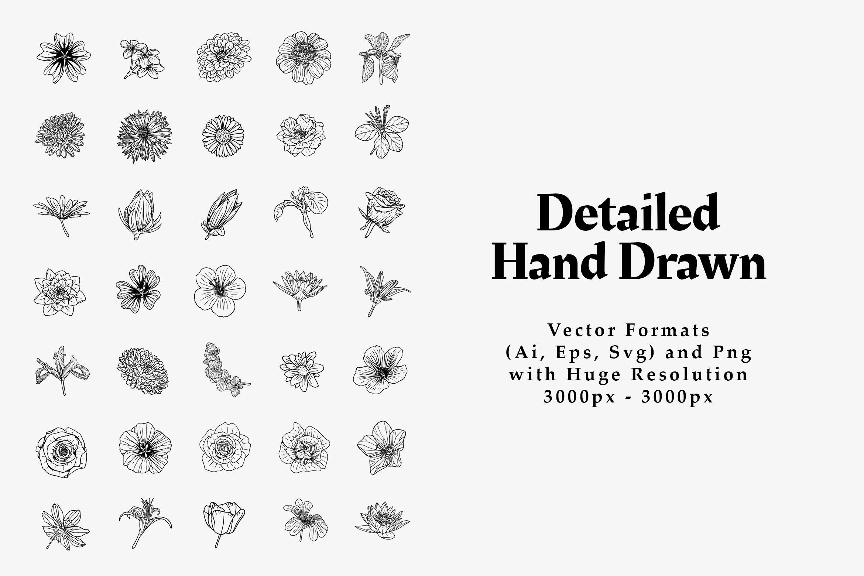 90+手绘花卉线条艺术元素素材designshidai_chahua064