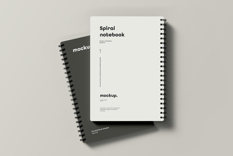 时尚高端专业的高品质螺旋笔记本包装设计VI样机展示模型mockups designshidai_yj691