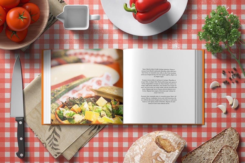 高品质的厨房场景书籍装帧VI设计样机展示模型mockups designshidai_yj658