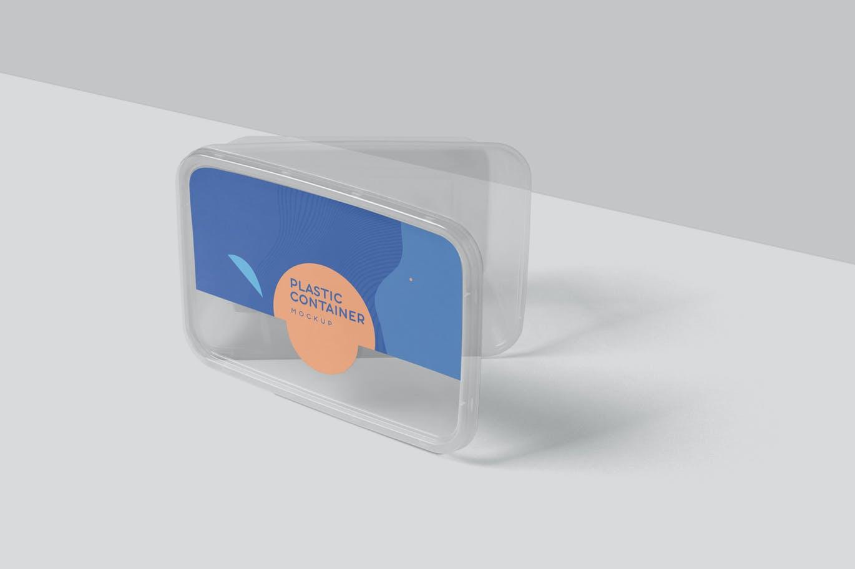 少见稀有的塑料包装盒打包盒饭盒外卖包装盒设计VI样机展示模型mockups designshidai_yj665