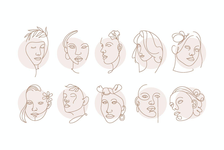 高端时尚抽象艺术风格女人脸部条线矢量插画集合designshidai_chahua065