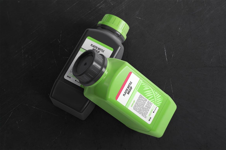 高品质的时尚高端方形塑料瓶包装设计VI样机展示模型mockups designshidai_yj656