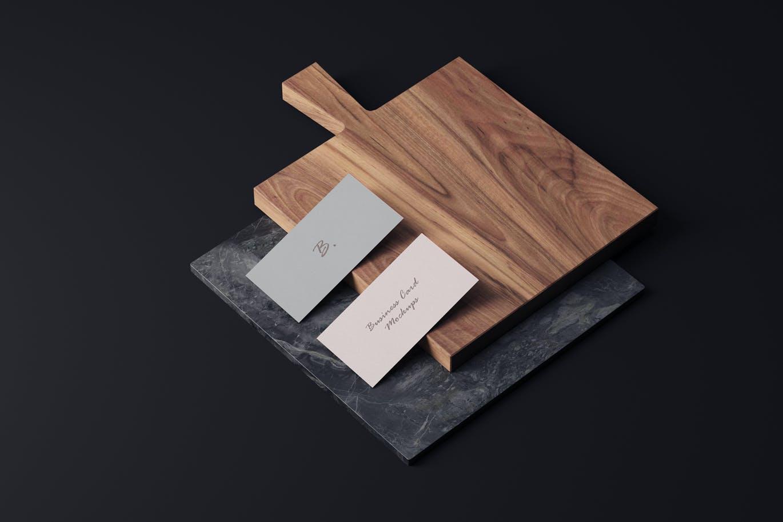 高端时尚商业商务质感的名片设计VI样机展示模型mockups designshidai_yj677