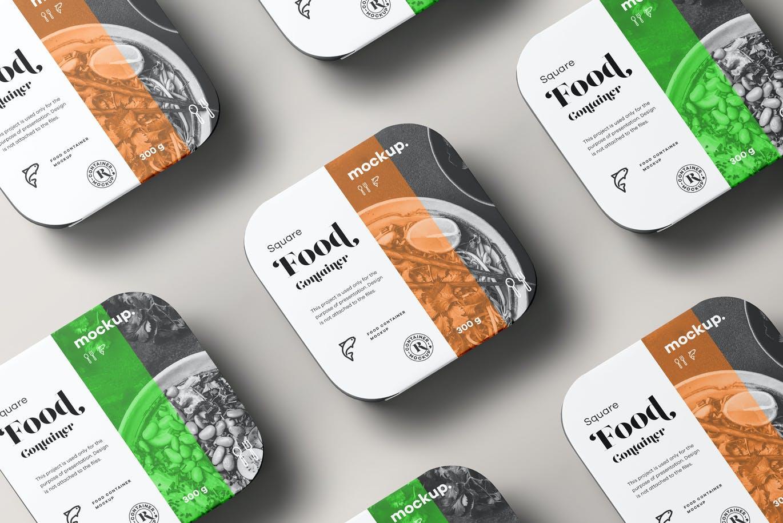 时尚高端专业的高品质正方形食品包装设计VI样机展示模型mockups designshidai_yj668