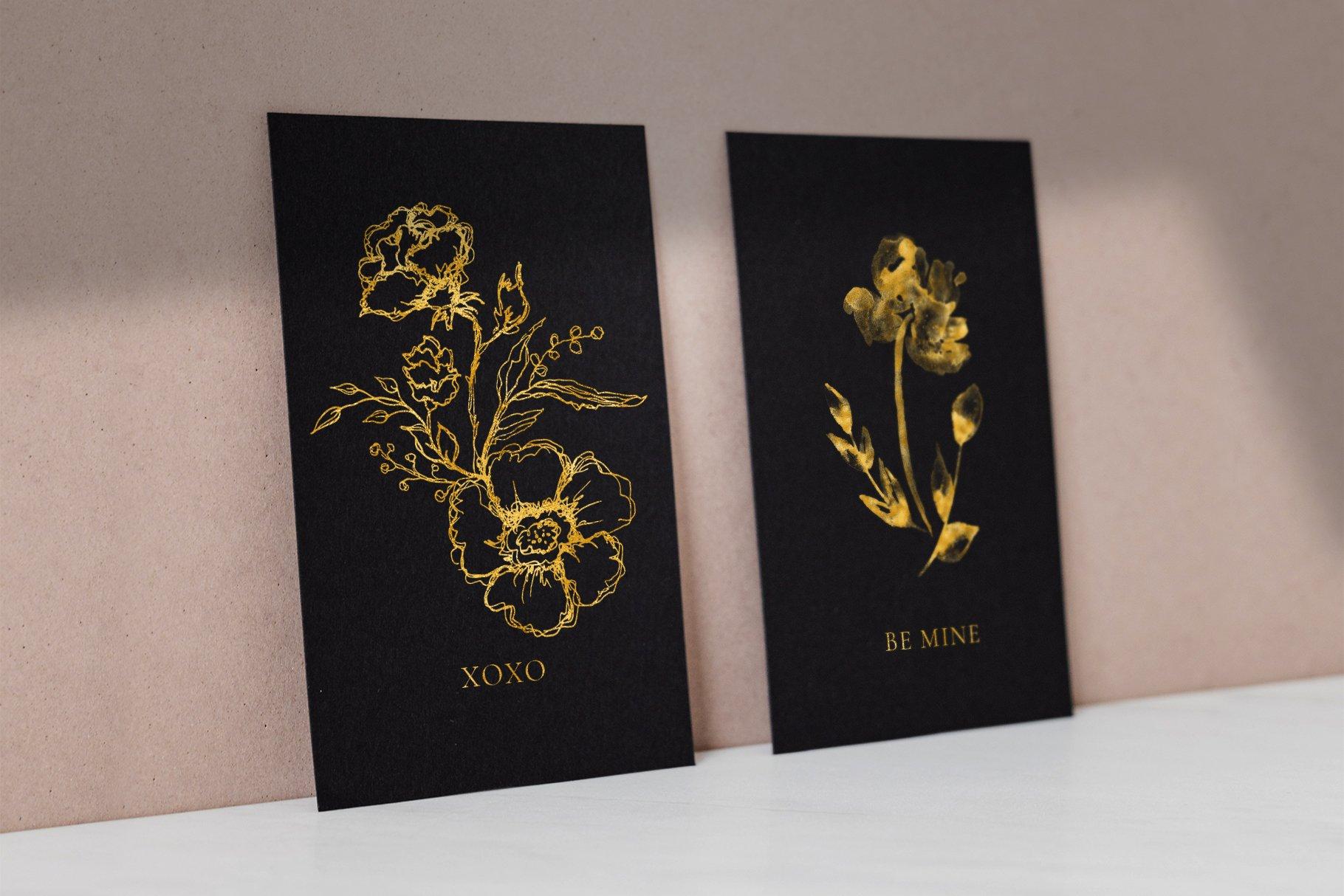 典雅的黑色&黄金水彩花卉插画套件designshidai_chahua075