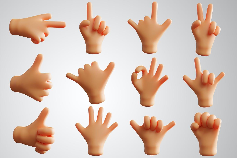 12个非常可爱的3D渲染手势集合designshidai_chahua060