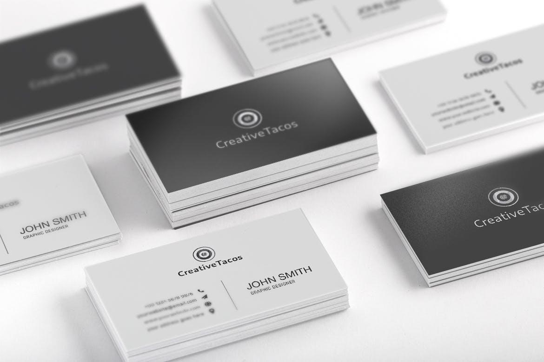 创意极简黑白色名片模板designshidai_yj62