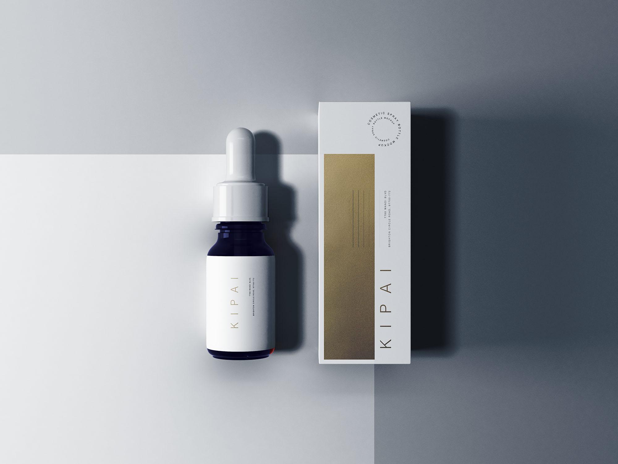 时尚高端滴管瓶药品包装设计VI样机展示模型mockups designshidai_yj655