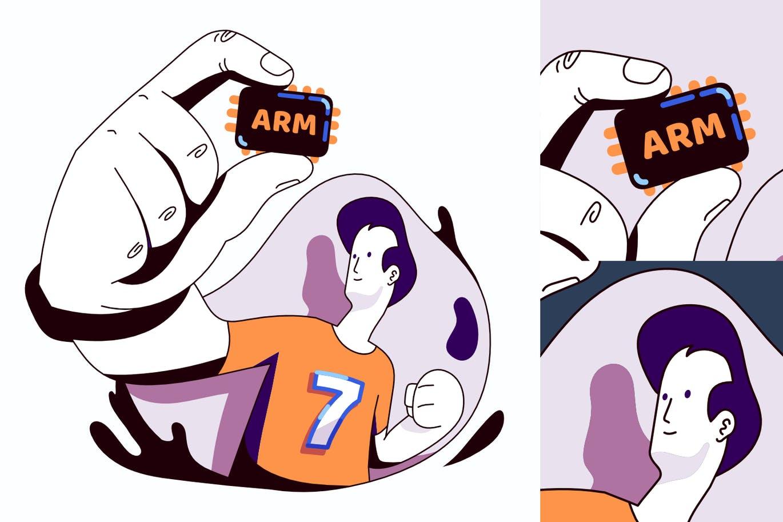 ARM处理器矢量插画海报设计模板designshidai_chahua074