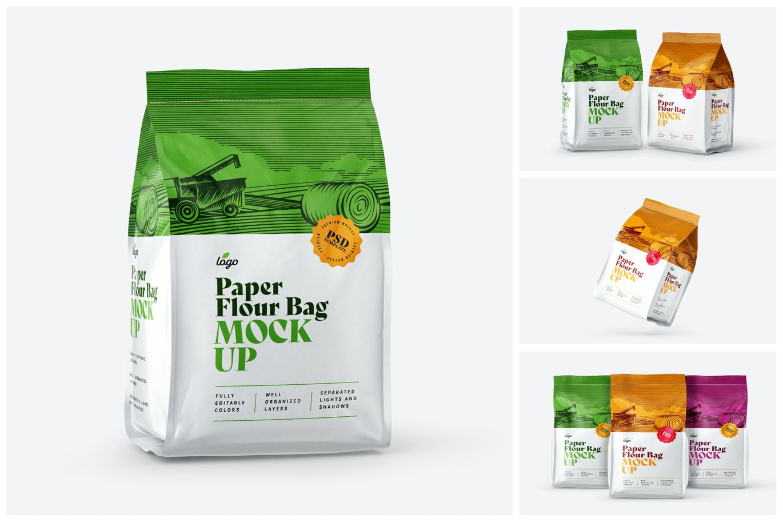 时尚高端高品质的面粉食品包装设计VI样机展示模型mockups designshidai_yj672