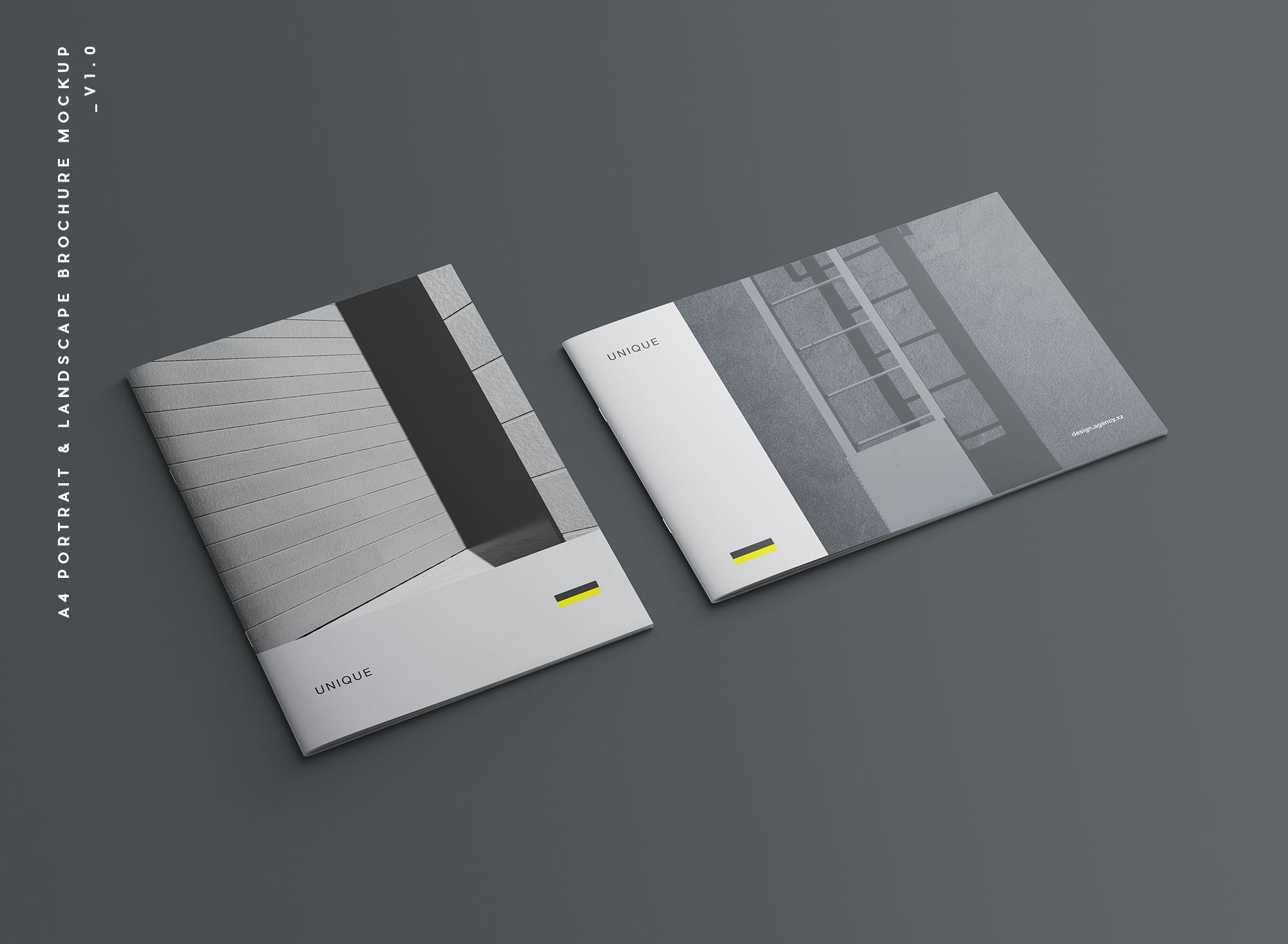 时尚高端简约多用途的高品质画册品牌手册宣传册设计VI样机展示模型mockups designshidai_yj675