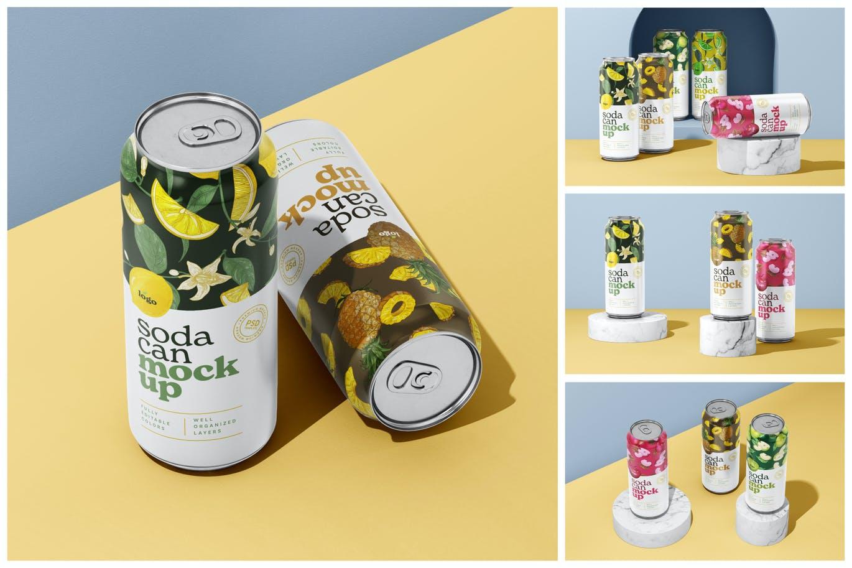 500ml汽水啤酒饮料易拉罐包装设计VI样机展示模型mockups designshidai_yj678