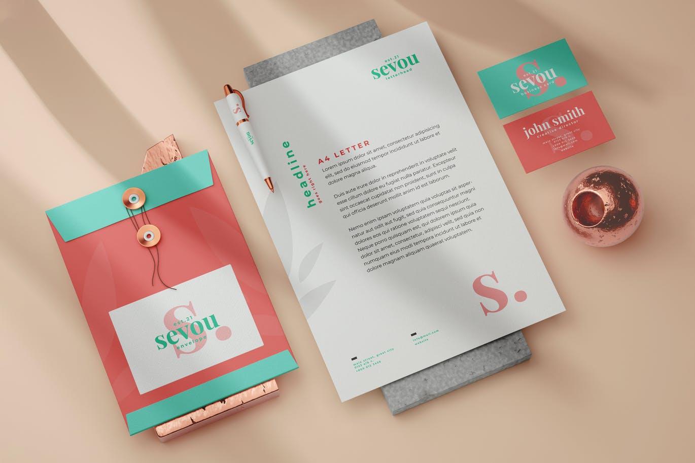 清新优雅简约时尚多用途的文具VI设计样机展示模型mockups designshidai_yj698