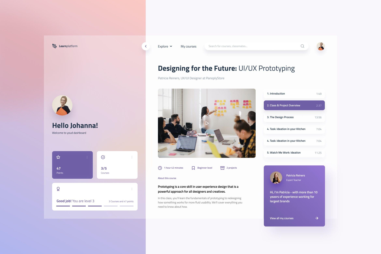 在线课程学校学习应用程序Web UI designshidai_ui238