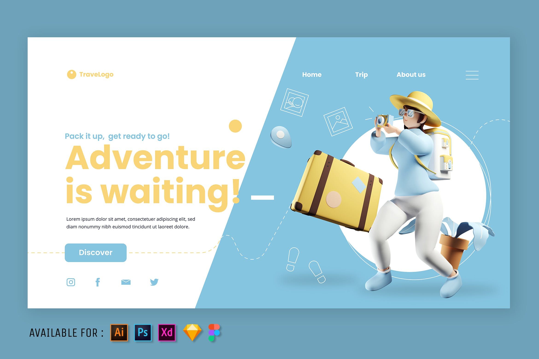 自在旅行旅游网站首页模板 designshidai_ui221