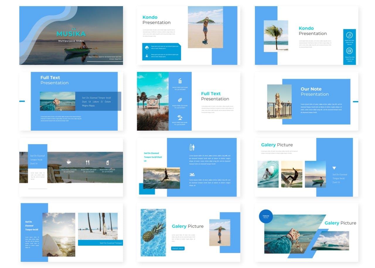 Musika – 度假休闲风PPT设计模板designshidai_ppt0144