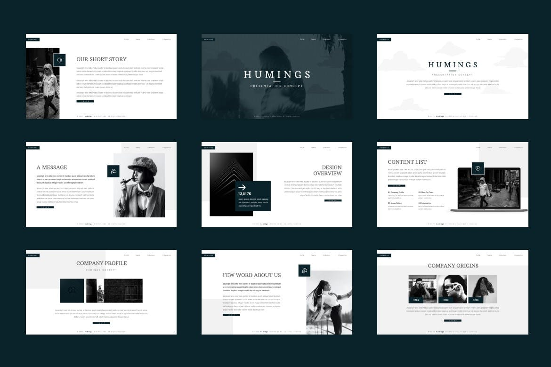Humings – 专业灰白PPT设计模板designshidai_ppt0149