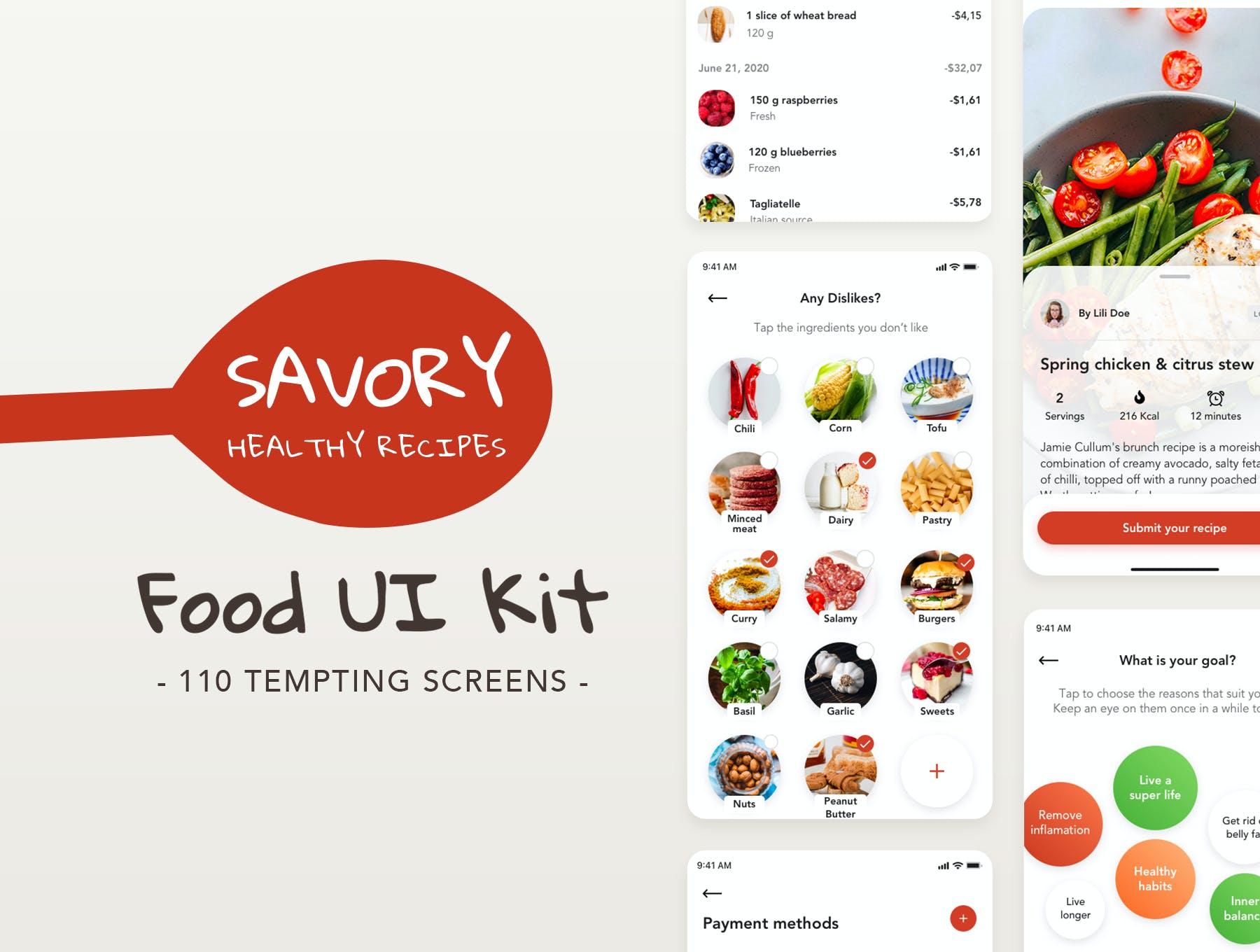 美食外卖销售APP UI Kit设计素材模板 designshidai_ui245