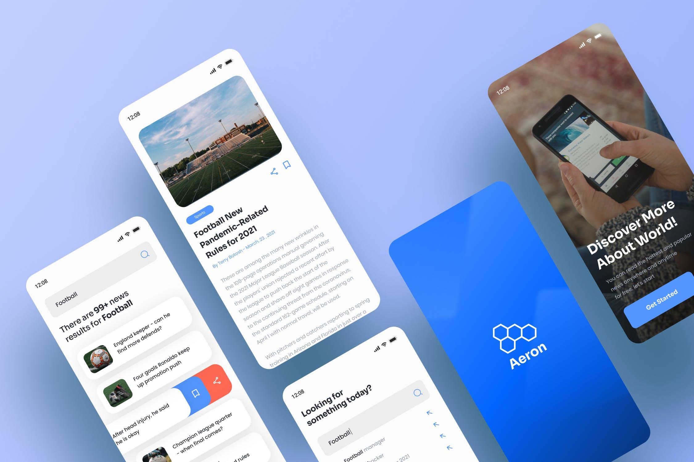 新闻阅读移动应用Aeron – News App UI界面设计模板素材designshidai_ui227