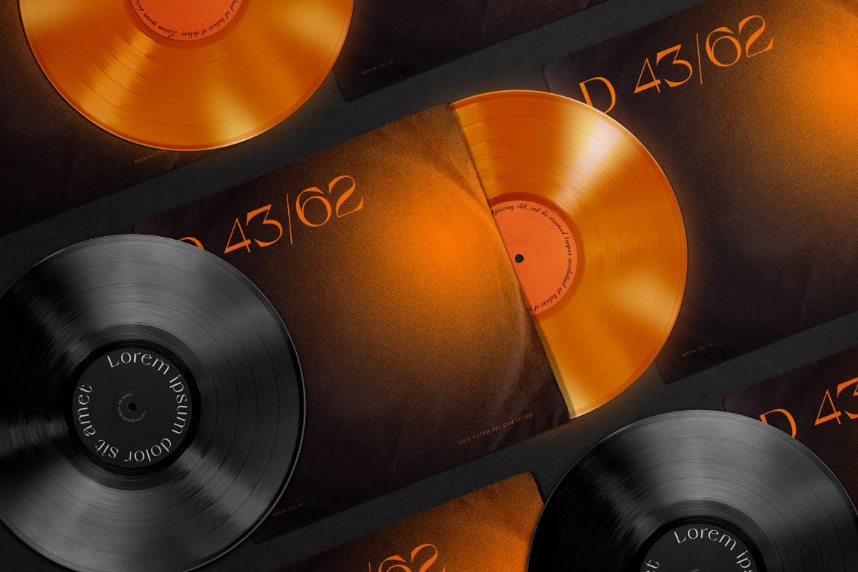 时尚高端黑胶唱片封面包装设计VI样机展示模型mockups designshidai_yj676