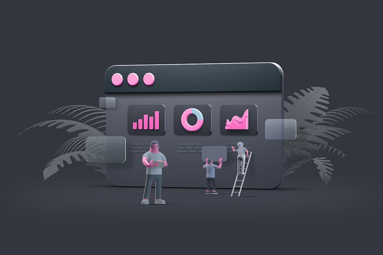 3D Ui UX设计Web浏览器场景图插画designshidai_chahua076