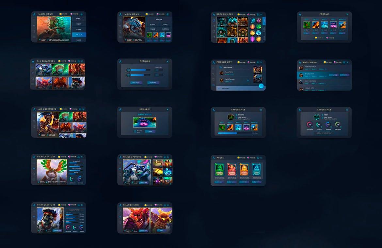 卡片类手游游戏界面 App & UI Kit 模板designshidai_ui189