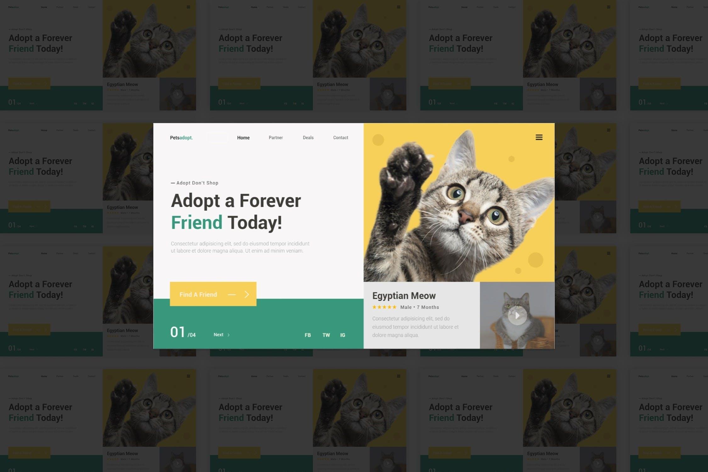宠物官方网站Petsadopt Hero HeaderUI界面设计模板素材 designshidai_ui226