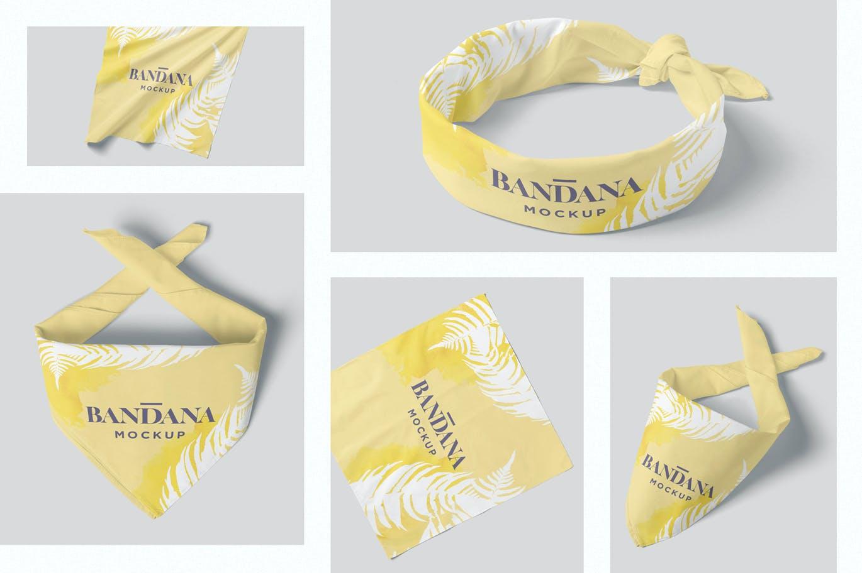 时尚高端高品质的头巾围嘴VI设计样机展示模型mockups designshidai_yj664