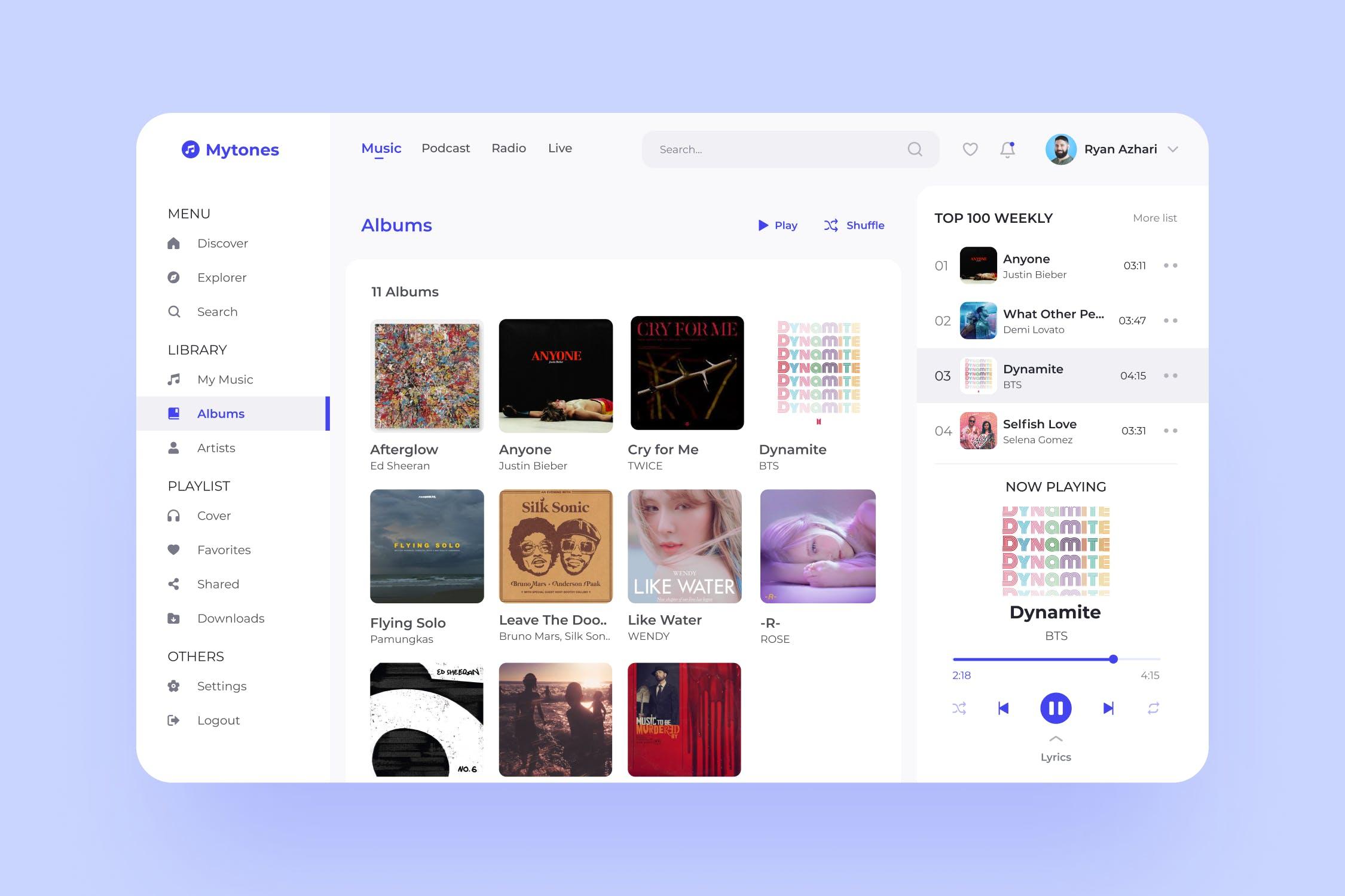 音乐流媒体网页模板 designshidai_ui243