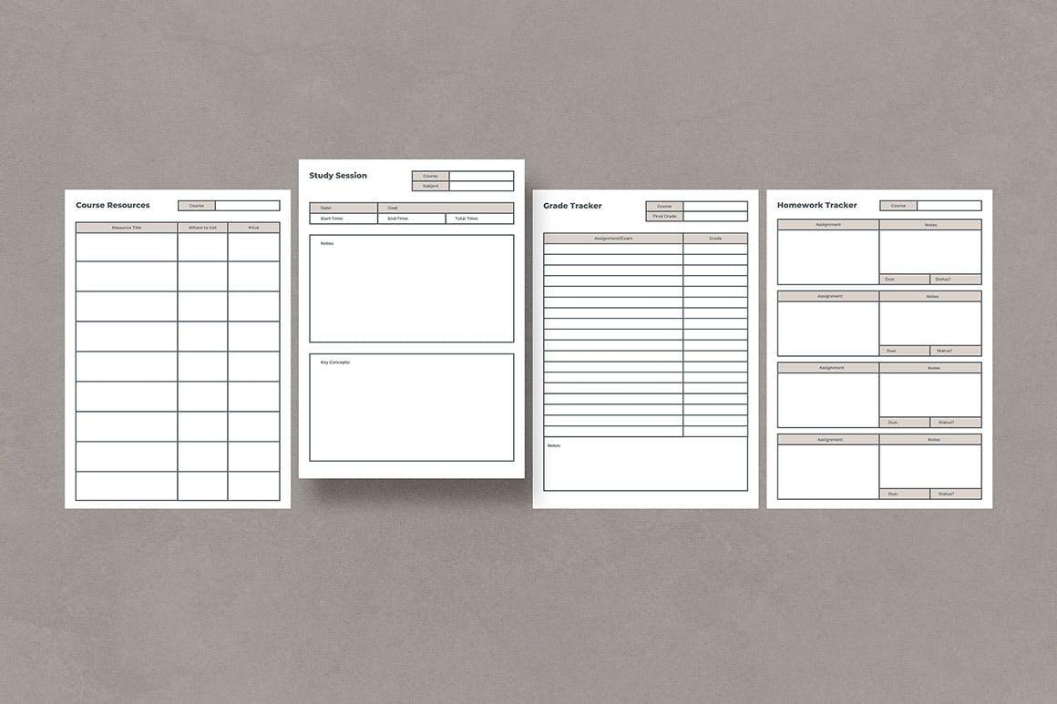 高品质多用途的学习计划表格设计模板designshidai_yj604