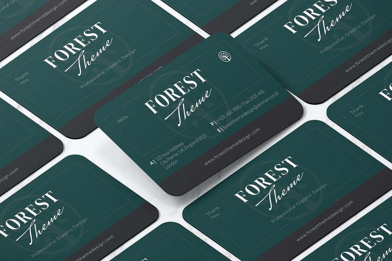 时尚高端简约清新森林主题的房地产名片设计模板designshidai_yj647