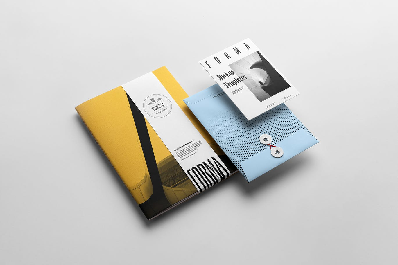 高端时尚多用途的高品质品牌VI设计样机展示模型mockups designshidai_yj712