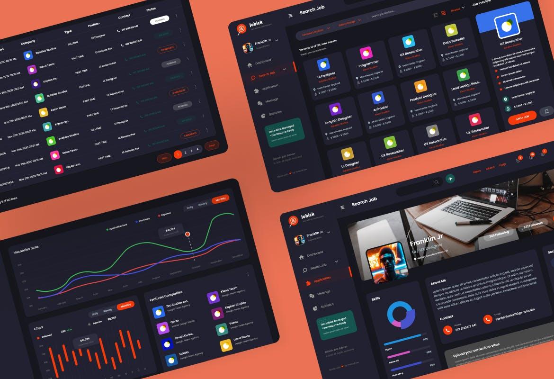 大数据分析统计专业人才招聘管理网站后台UI网页设计模板designshidai_ui293