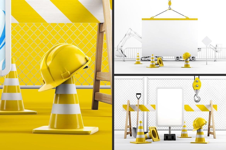 3D工地建设牌匾样机模型designshidai_yj743