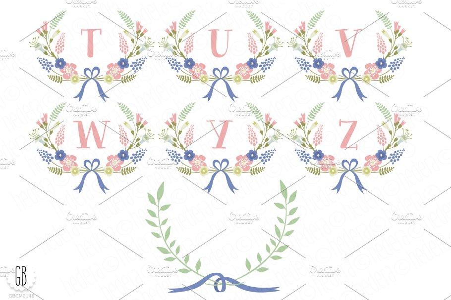 简约时尚花卉花环插画designshidai_chahua089