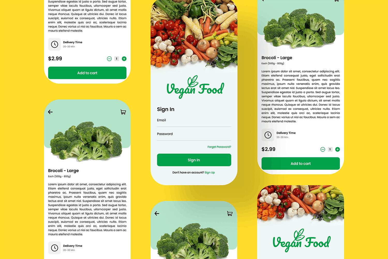 新鲜有机蔬菜生鲜 App UI Kit designshidai_ui249