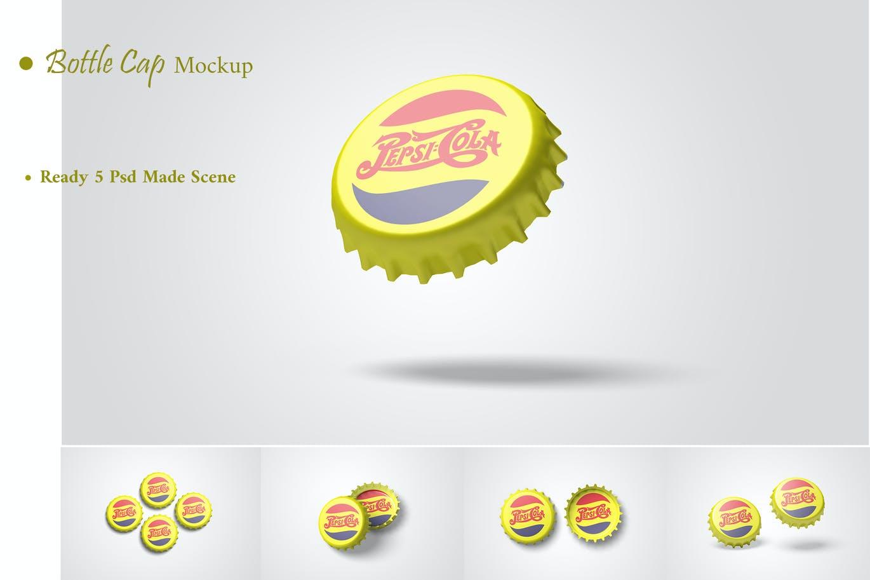 清新瓶盖包装设计VI样机展示模型mockups designshidai_yj725