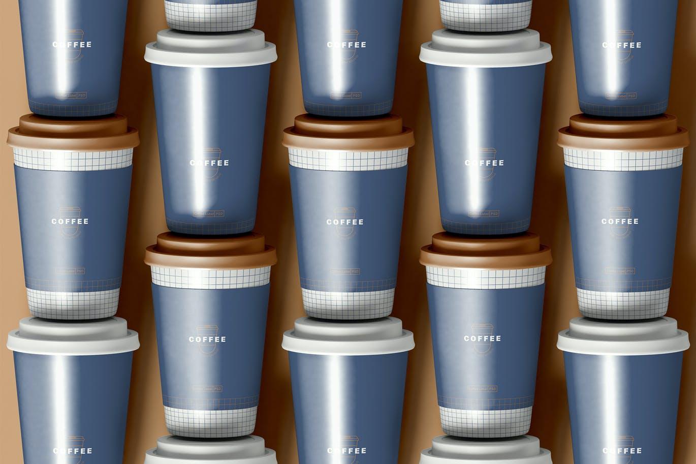 时尚高端逼真质感的高品质咖啡杯纸杯包装设计VI样机展示模型mockups designshidai_yj727