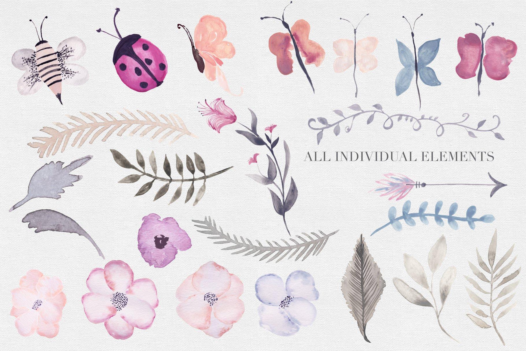 经典时尚水彩手绘花卉剪贴画集背景图案纹理designshidai_chahua092