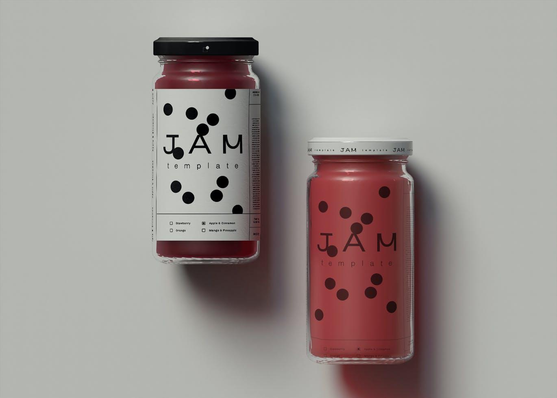 高品质的果酱食品包装设计VI样机展示模型mockups designshidai_yj704