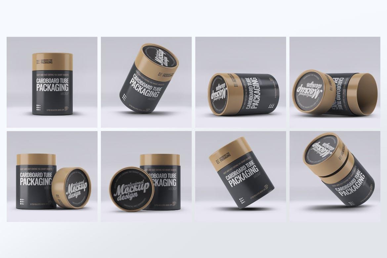 高品质的纸管桶包装设计VI样机展示模型mockups designshidai_yj734