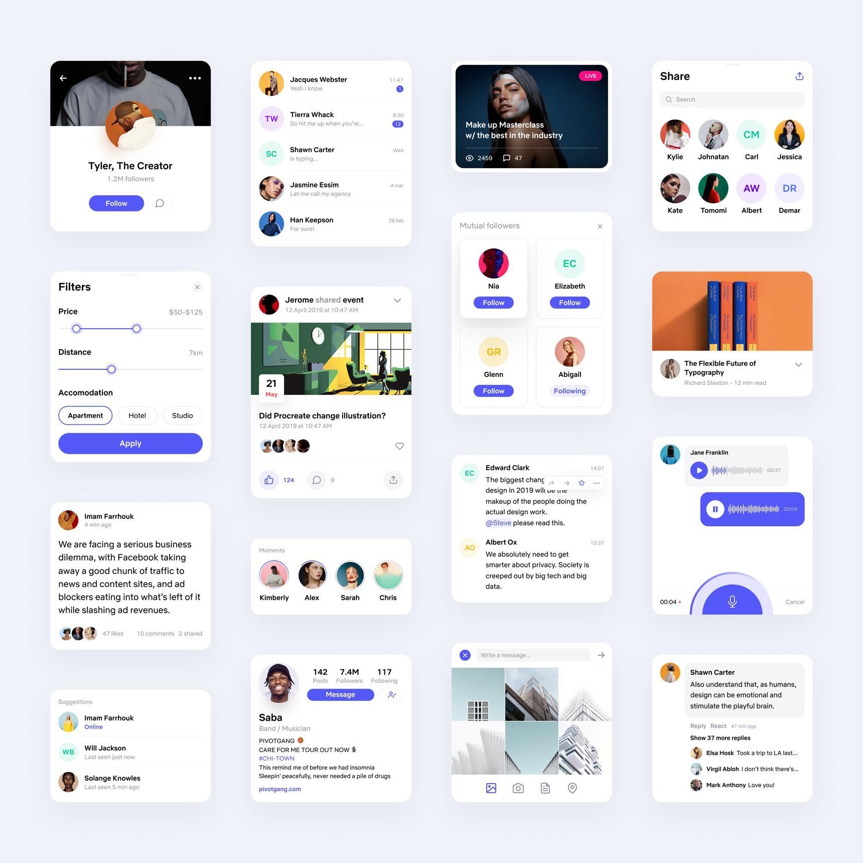 社交媒体软件UI工具包designshidai_ui272
