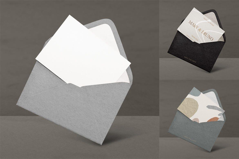 时尚高端专业的黑金质感邀请卡VI设计样机展示模型mockups designshidai_yj707