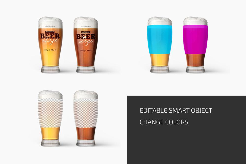 啤酒玻璃杯品牌设计样机designshidai_yj709