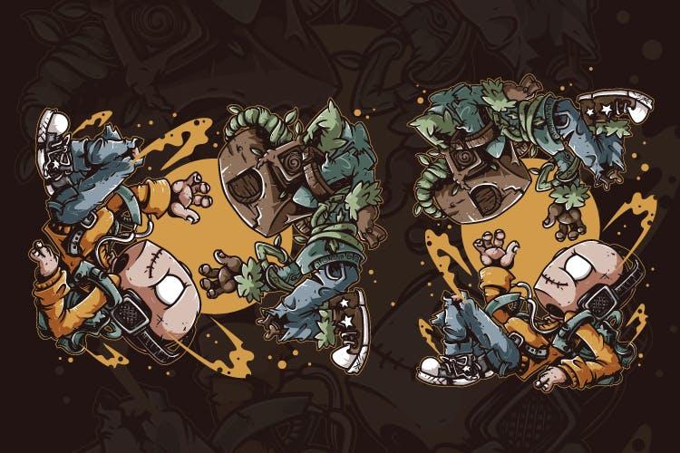 时尚高端可爱卡通小怪物矢量插画设计模板designshidai_chahua081