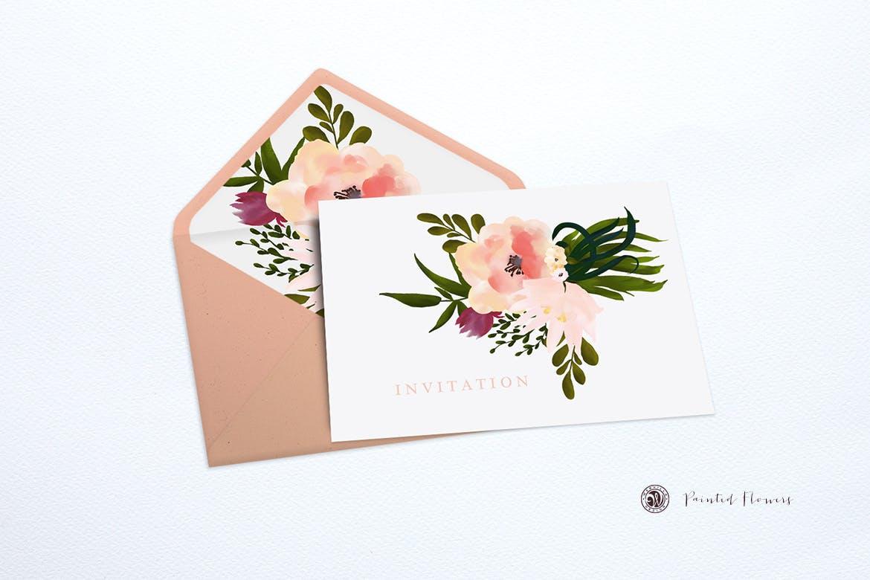 手绘水彩图案花纹邀请函婚礼请柬彩绘花卉背景纹理designshidai_beijing152