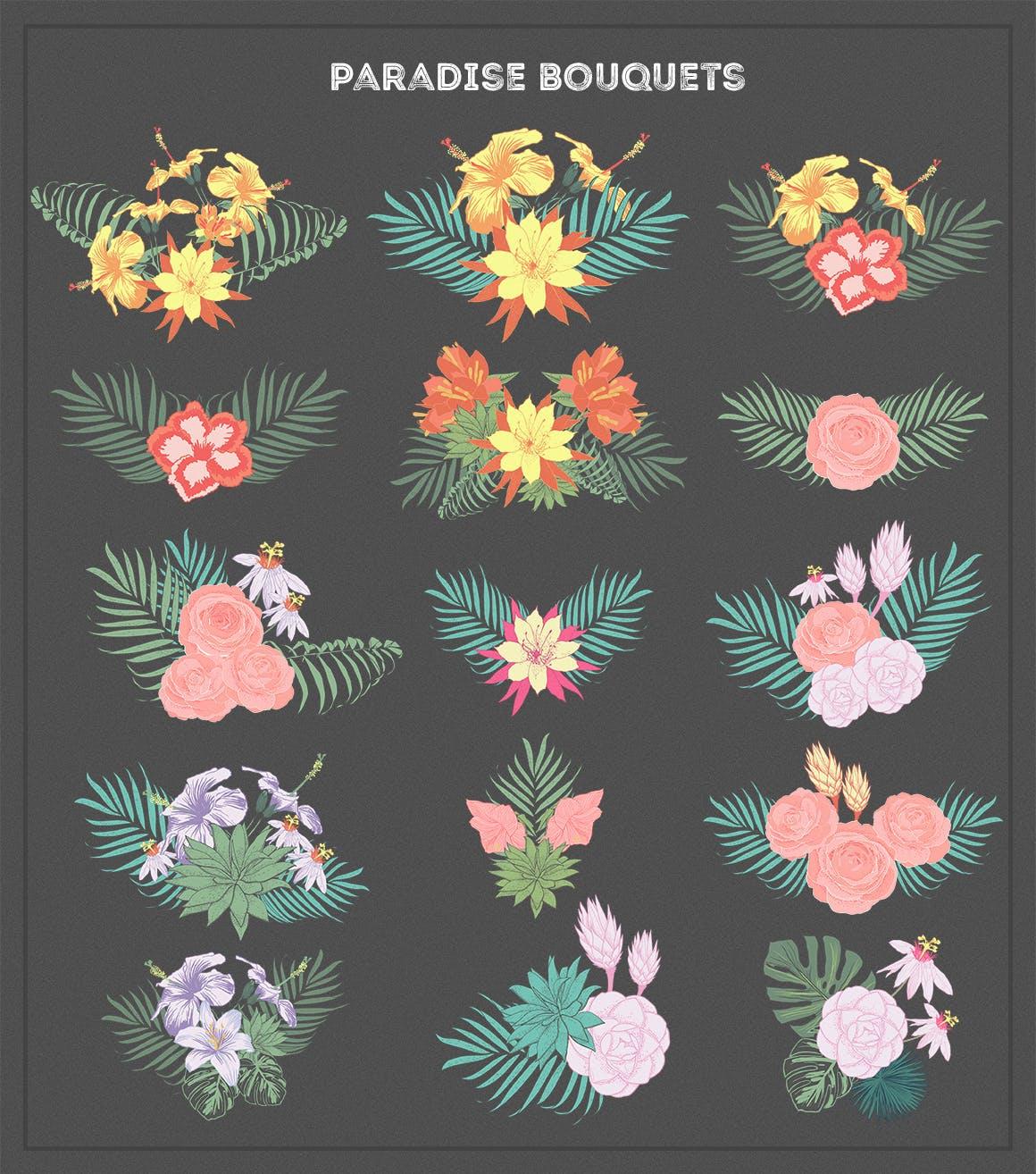 手绘天堂花 花朵背景装饰无缝图案布纹理designshidai_beijing153
